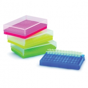 0.2uL PCR Tube Rack + Lid, Assorted Colours (5/pack)