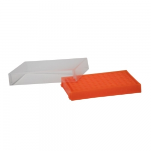 96-well PCR Rack with Lid, Orange (5/pack)