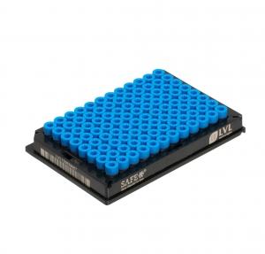 2D Tubes, side code, ext thread, 300ul, blue cap, Sterile, PP, Racked, (10x96)